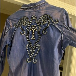 Roar Long Sleeve Button Up Shirt with Rhinestones